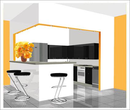 cuisine blanche et carrelage gris. Black Bedroom Furniture Sets. Home Design Ideas