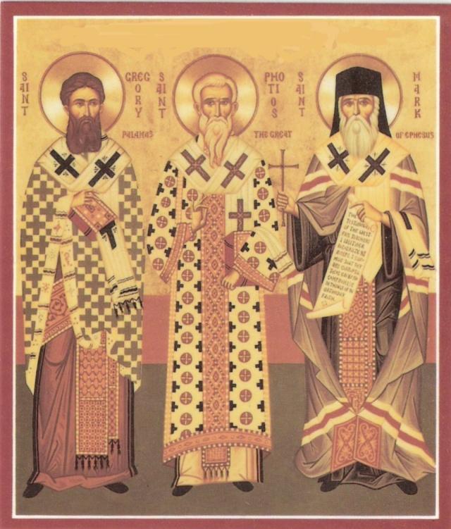 icone des 3 piliers de l'Orthodoxie, saint Photios le Grand, saint Gregoire Palamas et saint Marc d'Ephese