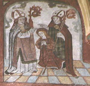sainte Genevieve, saint Germain d'Auxerre et l'eveque de Paris, fresque de la paroisse de Zepperen, Limbourg belge