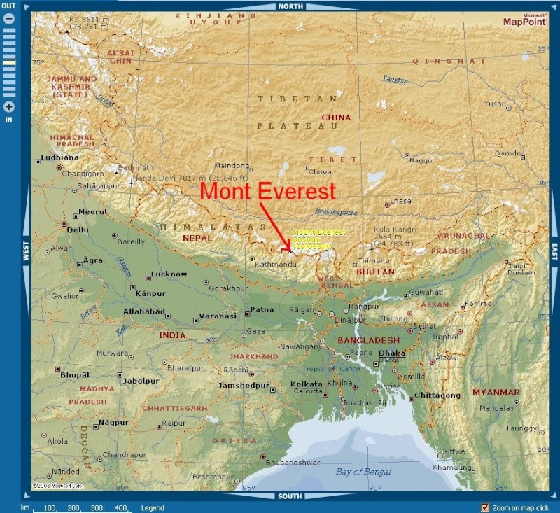 mont everest carte monde - Image