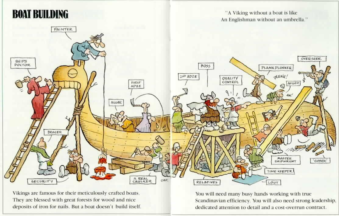 Hagar Dunord et ses vikings construisent un drakkar, dessin du chantier et du chambard
