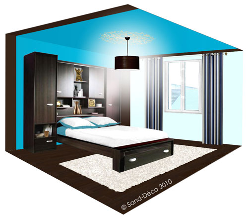 d co chambre turquoise et chocolat. Black Bedroom Furniture Sets. Home Design Ideas