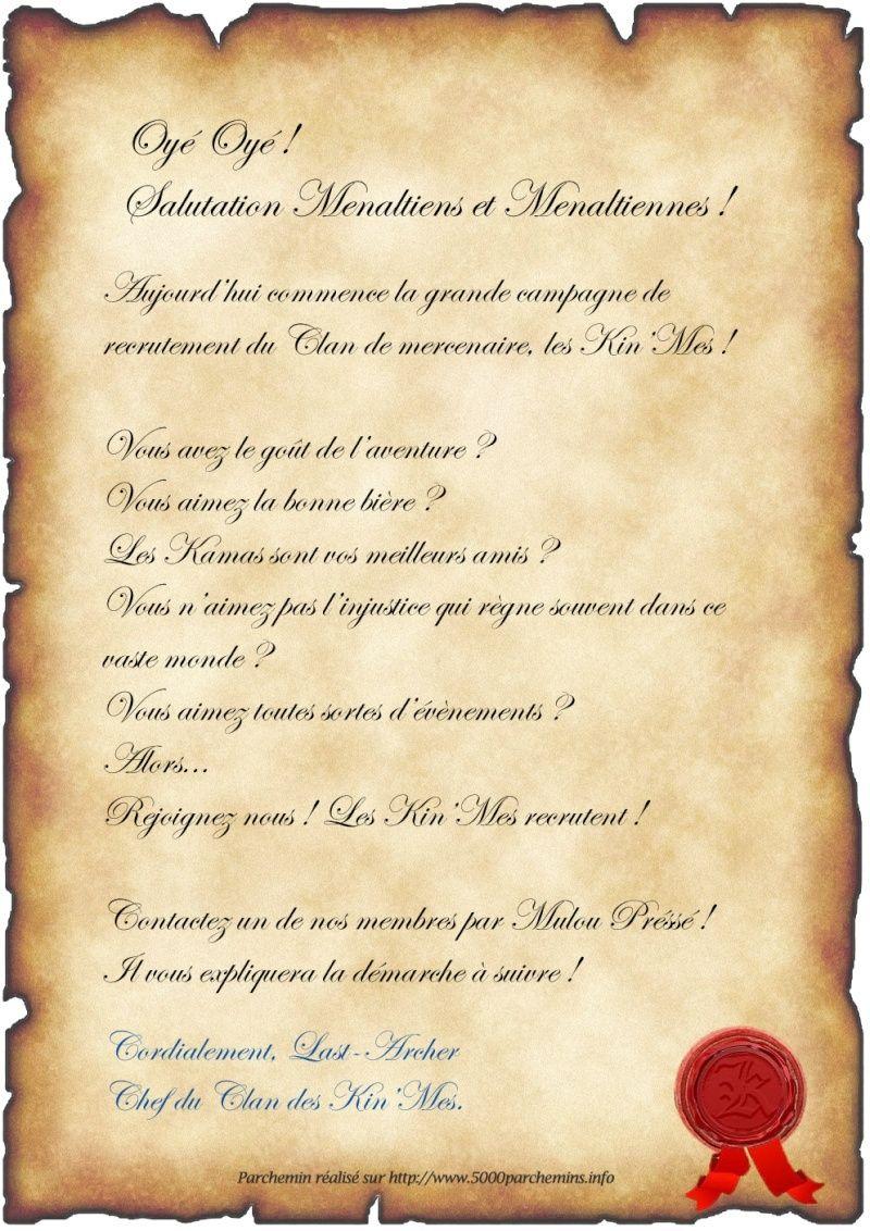 Mercenariat campagne de recrutement les kin 39 mes recrutent forum dofus forum de - Lettre restitution caution avec retenue ...