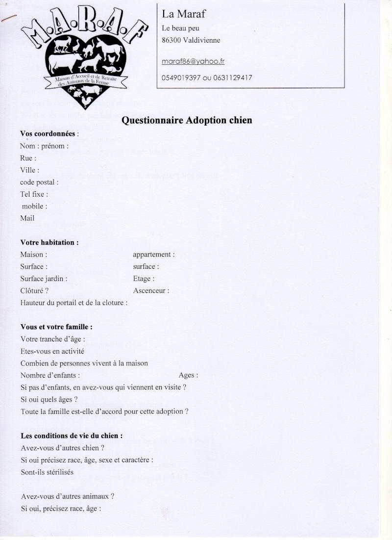 Formulaire pré-adoption et contrat d'adoption